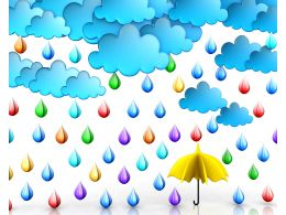 Cloud With Rain Drops And Umbrella Stock Photo
