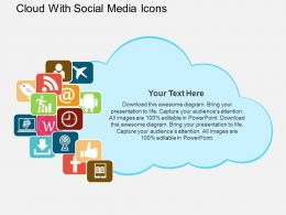 Cloud With Social Media Icons Flat Powerpoint Design