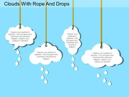Clouds With Rope And Drops Flat Powerpoint Desgin