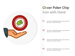 Clover Poker Chip Icon With Hand