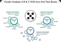Cluster Analysis A B And C With Icon And Text Boxes