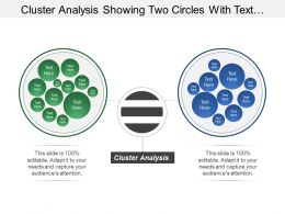 Cluster Analysis Showing Two Circles With Text Boxes