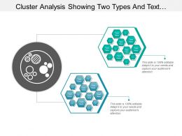 Cluster Analysis Showing Two Types And Text Boxes With Icon