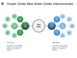 Cluster Circles Blue Green Circles Interconnected With Grey Circle