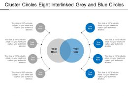 Cluster Circles Eight Interlinked Grey And Blue Circles