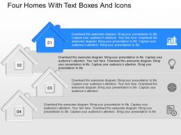 cm Four Homes With Text Boxes And Icons Powerpoint Template