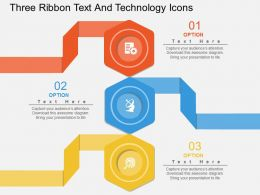 cm Three Ribbon Text And Technology Icons Flat Powerpoint Design