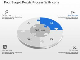 Cn Four Staged Puzzle Process With Icons Powerpoint Template