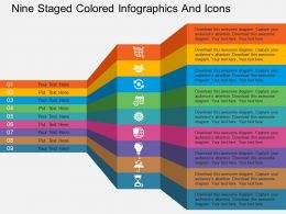 Cn Nine Staged Colored Infographics And Icons Flat Powerpoint Design