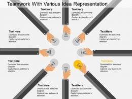 cn Teamwork With Various Idea Representation Flat Powerpoint Design