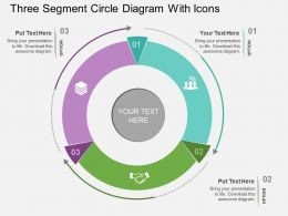 cn Three Segment Circle Diagram With Icons Flat Powerpoint Design