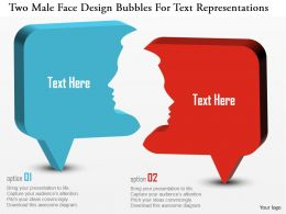 Cn Two Male Face Design Bubbles For Text Representations Powerpoint Template