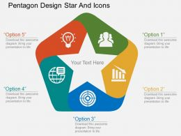 Co Pentagon Design Star And Icons Flat Powerpoint Design