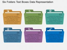 co Six Folders Text Boxes Data Representation Flat Powerpoint Design