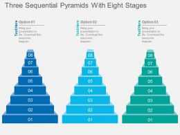 co Three Sequential Pyramids With Eight Stages Flat Powerpoint Design