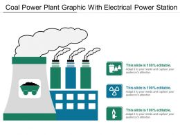 Coal Power Plant Graphic With Electrical Power Station