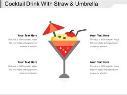 Cocktail Drink With Straw And Umbrella