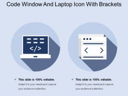 Code Window And Laptop Icon With Brackets