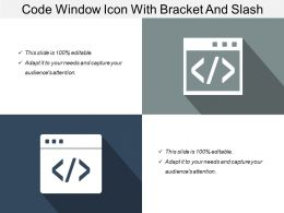 Code Window Icon With Bracket And Slash