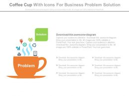 Coffee Cup With Icons For Business Problem Solutions Powerpoint Slides