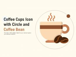 Coffee Cups Icon With Circle And Coffee Bean