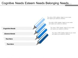 Cognitive Needs Esteem Needs Belonging Needs Safety Needs