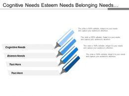Cognitive Needs Esteem Needs Belonging Needs Safety Needs