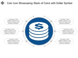 Coin Icon Showcasing Stack Of Coins With Dollar Symbol