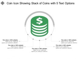 Coin Icon Showing Stack Of Coins With 5 Text Options