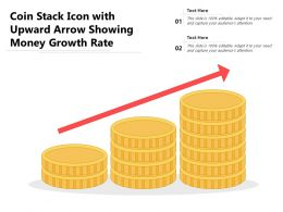 Coin Stack Icon With Upward Arrow Showing Money Growth Rate