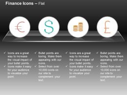 Coins Dollar Pound Euro Sign Ppt Icons Graphics