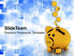 Coins Falling In Golden Piggy Future PowerPoint Templates PPT Themes And Graphics 0213