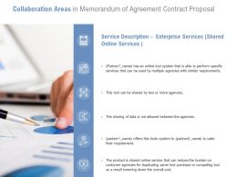Collaboration Areas In Memorandum Of Agreement Contract Proposal Ppt Ideas