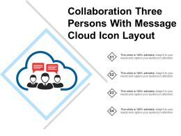 Collaboration Three Persons With Message Cloud Icon Layout