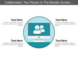 Collaboration Two Person In The Monitor Screen Icon Ppt Slide