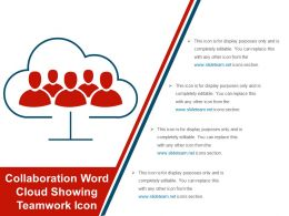 Collaboration Word Cloud Showing Teamwork Icon