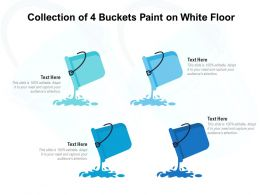 Collection Of 4 Buckets Paint On White Floor