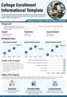 College Enrollment Informational Template Presentation Report Infographic PPT PDF Document
