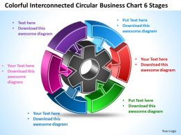 Coloful Interconnected Circular Business Chart 6 Stages Templates ppt presentation slides 812