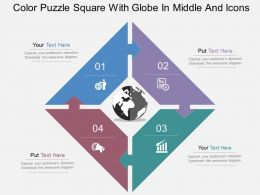 Color Puzzle Square With Globe In Middle And Icons Flat Powerpoint Design