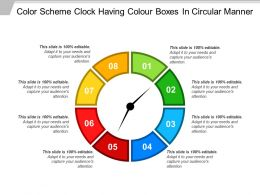 Color Scheme Clock Having Colour Boxes In Circular Manner