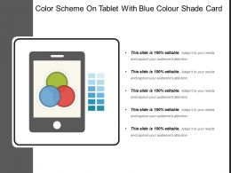 Color Scheme On Tablet With Blue Colour Shade Card