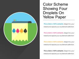 Color Scheme Showing Four Droplets On Yellow Paper