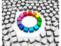 Color Wheel In Made Of Cubes Stock Photo
