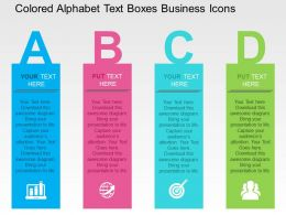 Colored Alphabet Text Boxes Business Icons Flat Powerpoint Design Flat Powerpoint Design