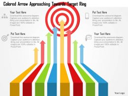 Colored Arrow Approaching Towards Target Ring Powerpoint Template