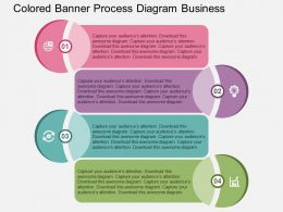 Colored Banner Process Diagram Business Flat Powerpoint Design