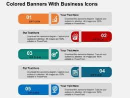 Colored Banners With Business Icons Flat Powerpoint Design