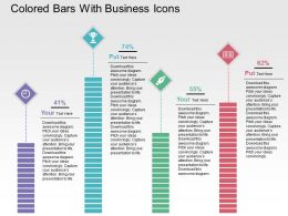 Colored Bars With Business Icons Flat Powerpoint Design