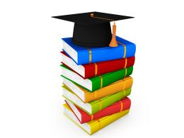 Colored Books With Graduation Cap On Top Stock Photo